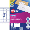 AVERY L7160 MAILING LABELS Laser 21/Sht 63.5x38.1mm Quick Peel Pop Up