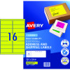 AVERY L7162FY LASER LABELS 16/Sht 99.1x34mm Fluoro Yellow