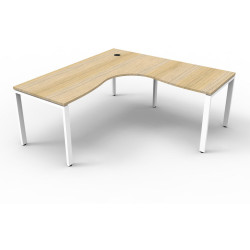 Deluxe Profile Corner Desk 1500Wx1500Wx750D Oak Top White Frame