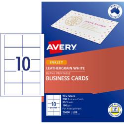 AVERY IJ39 BUSINESS CARDS I/Jet Leathergrain 200gsm Wht