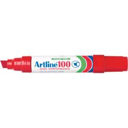 ARTLINE 100 PERMANENT MARKERS Large Chisel  Red