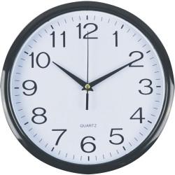 ITALPLAST 30CM WALL CLOCK Black Frame/White Face