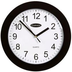 CARVEN WALL CLOCK 250mm Plastic Frame Black