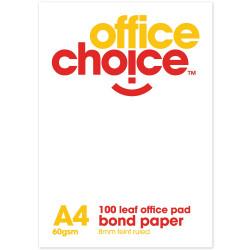 OFFICE CHOICE OFFICE PAD A4 100lf Bond Ruled 70gsm