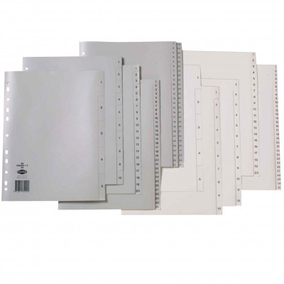 MARBIG COLOURED DIVIDERS A4 PP 1-31 Grey
