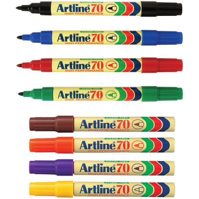 ARTLINE 70 PERMANENT MARKERS Med Bullet Assorted Pack Of 12